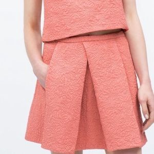 ZARA Embossed Floral Quilted Pocket Mini Skirt